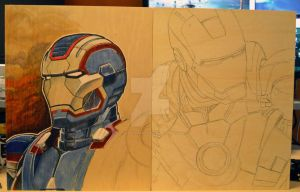 Combined Rough - Iron Patriot Iron Man by theArtisanRogue