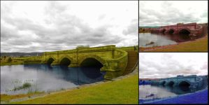 Blue River Green Grass And Golden Bridges by joaovitor2763
