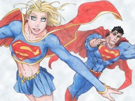 Supergirl and Superman by StingRoll