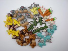Animal cling charms by Foureyedalien