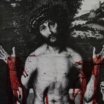 Jesus Christ - Human Blood and Paper on Canvas by CarlWicker