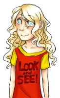 Blind girl with ironic T-shirt... by Elzbun