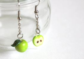 Miniature Green Apple Dangle Earrings by LaNostalgie05