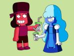 Ruby and Sapphire with a smoothie by AngeloCN