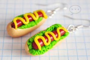clay hot-dog earings by cihutka123