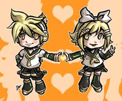 Rin and Len Kagamine Chibis by MarisaArtist