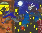Sly Cooper and Moa (Contest Entry) by LollypopWolf