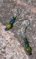 Hematite and Unakite Earrings by EmMakesStuff