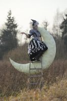Stock - Moon sitting pose hand up gothic burton 3 by S-T-A-R-gazer
