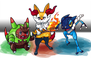 Prepared for Battle: Quilladin, Braixen, Frogadier by SOAMan