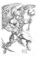Hawkman Pencils by hanzozuken