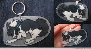 Border Collie Keychain by FlannMoriath
