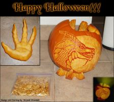 Dragon Pumpkin And Clawed Hand by RaptorArts