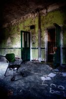 green doors and a green chair by Matthias-Haker