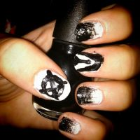 Slenderman Nails by Monochrome-Magick