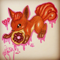 Vulpix and Donut by VentiMinccino