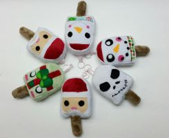Holiday Popsicle keychains by Catzilerella