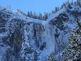 Frozen Silver Strand Waterfall by Yosemite-Stories