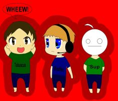 Tobuscus, Pewdie, and Cry by dolphinchicken