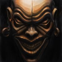 Evil copper demon mask by foreest83