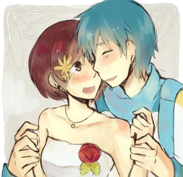 Their faces are touching by Hikusa-Rockgirl-X