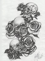 Three skulls with roses by Jenny-Blue