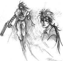 Vincent and Reno Sketch- FF7 by renkaz