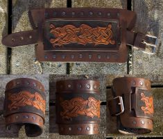 Viking Beast Leather Cuff by Wodenswolf