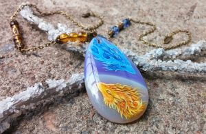 Fire and Ice dragons - necklace by AlviaAlcedo
