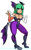 Morrigan Aensland Skull girl styled WIP by TouchingEverything