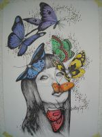 asian girl butterflies collour by pennywise988