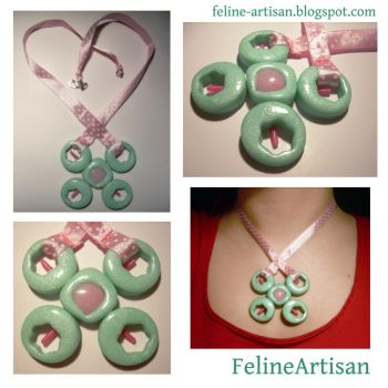 Pink Mint Pendant by FelineArtisan