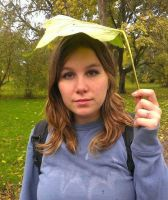 Leaf umbrella and me :D by RoseMoon66