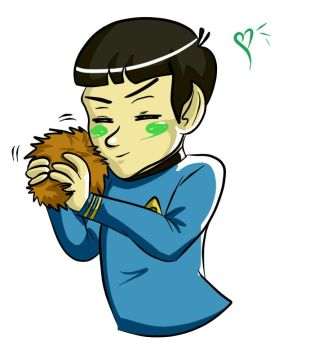 Spock with a Tribble by Inustein