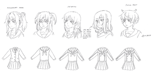 Yandere Game Hairstyle Templates by aea