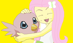 Human Fluttershy with Poromon by SuperMarcosLucky96