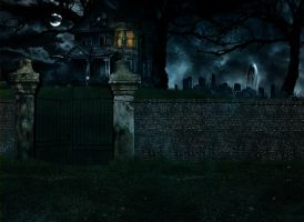Haunted House Bg Stock by Moonglowlilly