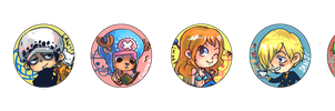 One Piece Buttons by shark-bomb