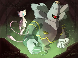 Dusknoir and Mew by ShawnnL