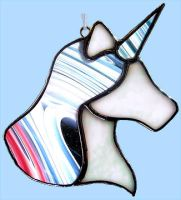 Stained Glass Unicorn Head by bigblued