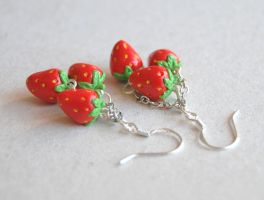 Strawberry Dangle earrings by Madizzo