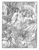 Conan in the courtyard pencils by deankotz
