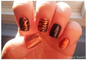 Tiger Nails by Ebony-Rose13