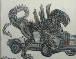 Xenomorph Delorean by danieldenta169
