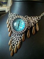 Water Eye with Bronze Daggers in Maille by BacktoEarthCreations