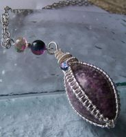 Lepidolite Woven Wire Necklace by LiquidSilver1