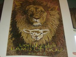 Lion of Judah and Lamb of God pointilism by RockAngel93