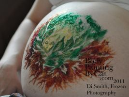 Leafy Freehand glitter Tattoo Baby bump art wip by Bodypaintingbycatdot