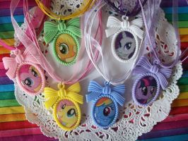 My little Pony Cameo Necklaces by lessthan3chrissy