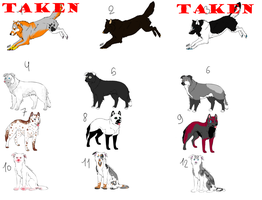 12 wolf and dog adoptables 10 points by SweetWolfKutta